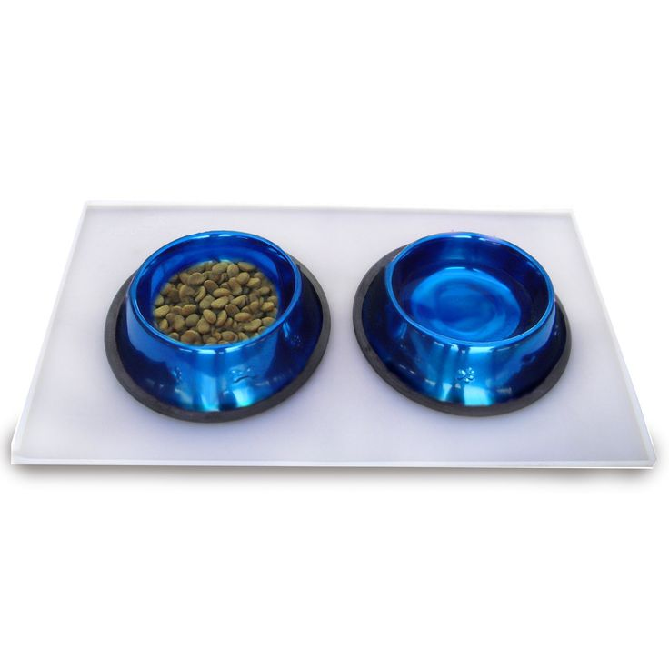 Platinum Pets 3 Cup Embossed Non-Tip Stainless Steel Dog Bowls with Clear Feeding Mat Sapphire Blue