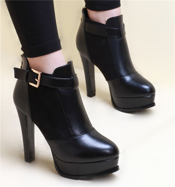 - Cool edgy ankle strap stylish heel boots for the modern fashionista - Sleek ankle strap for style and support - Zipper at heel for easy access - Comfortable breathable upper - Made from PU - 9 cm he