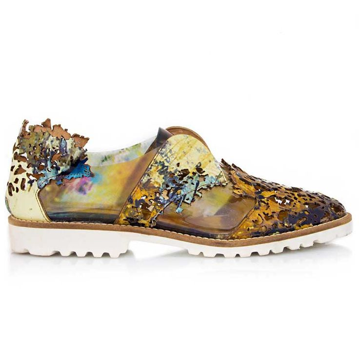 Rust inspiration sneakers. Made from printed natural leather using laser-cut…