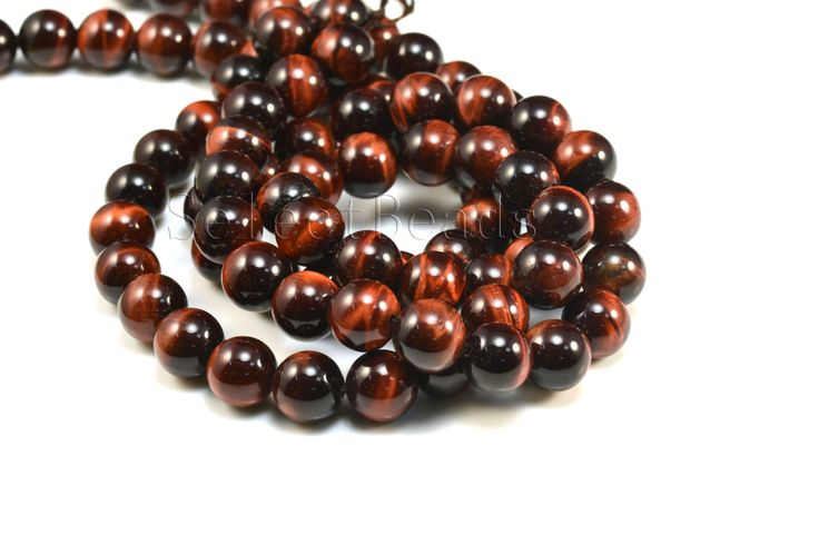 red tiger eye beads - natural tiger eye stone - tiger eye stone beads - red tiger eye gemstone - round beads -size 4-12mm -15inch