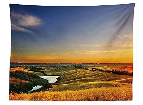 vipsung Tuscan Decor Tablecloth Magical Photo of Mediterranean Rural in the Valley with a Small Lake Europe Nature Rectangular Table Cover for Dining Room Kitchen Blue Yellow Green