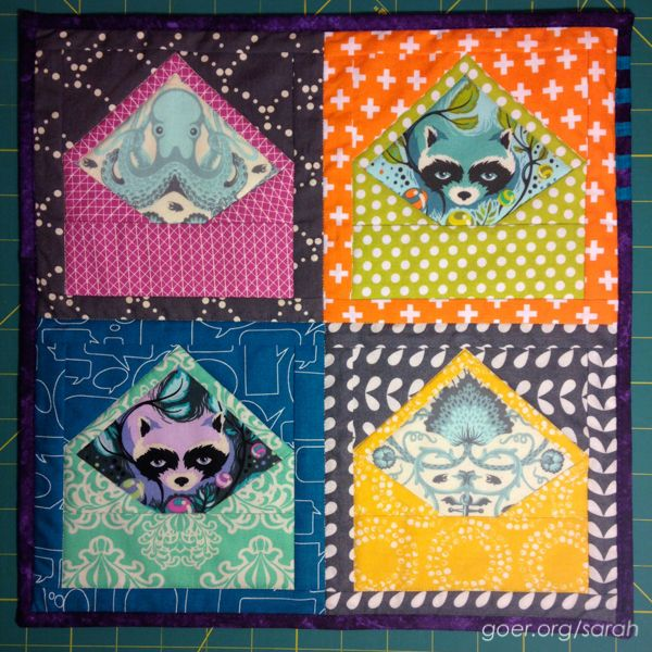 Envelope mini quilt by Sarah | Things I Make. Tula Pink fabrics. Blogger's Quilt Festival – Spring 2015