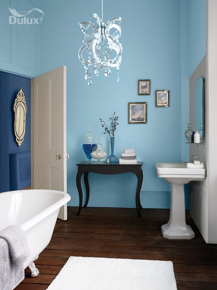 Image On Warm blues and dark wood floors turn your bathroom into a haven in the home Click the image to try a tester of Breton Blue yourself