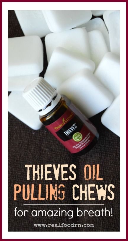 Thieves Oil Pulling Chews for Amazing Breath! Oil pulling is well known for its benefits to your oral health, and overall well-being! Add in some Thieves essential oil and they become supercharged! Plus when you make these handy little chews, there is no excuse NOT to do this daily! realfoodrn.com