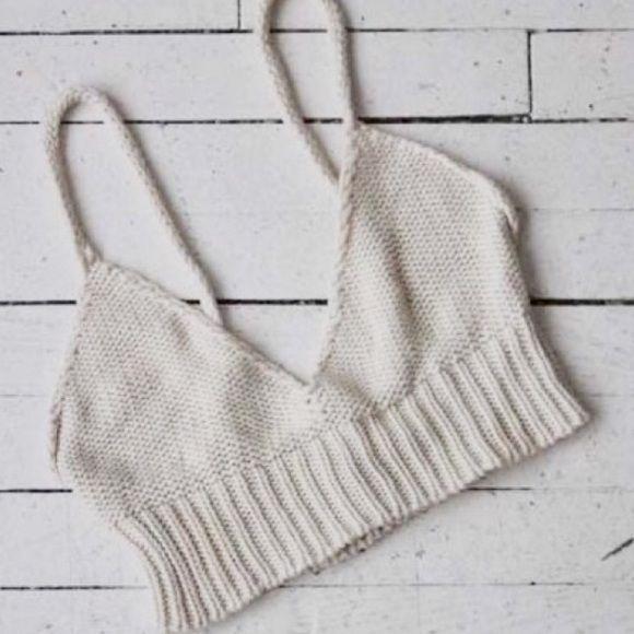 Brandy Melville knit bralette Ivory kit bralette from Brandy Melville. Never worn. Brandy Melville Tops