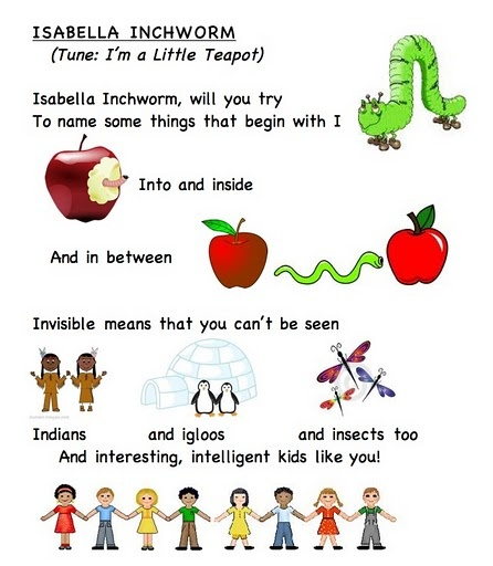 Letter song I (words by Frog Street press).. link... https://docs.google.com/leaf?id=0B8JEqYoVwlm2MWNiMGEzMzAtNzBhOS00ODFhLTg2NWQtNDUyOTFmZTYzZjdh&hl;=en_US