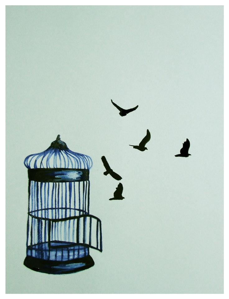 Letting Go Birdcage Watercolor and Ink by TalulaChristian on Etsy