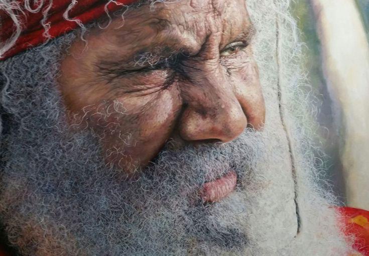 "Uncle Martin Ballangarry -  Oil on Canvas portrait painting 122cm x 92cm (48″ x 36ƒƒƒ"") Uncle Martin, a Gumbaynggirr elder from Bowraville NSW"