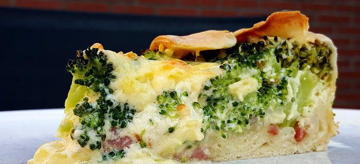 Quiche met broccoli, spekjes en ui