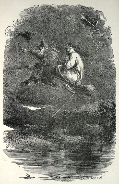 The ride through the murky air. Illustration by John Gilbert, from The Lancashire witches, by William Harrison Ainsworth, London, 1897 (?). Engraved by the Brothers Dalziel.
