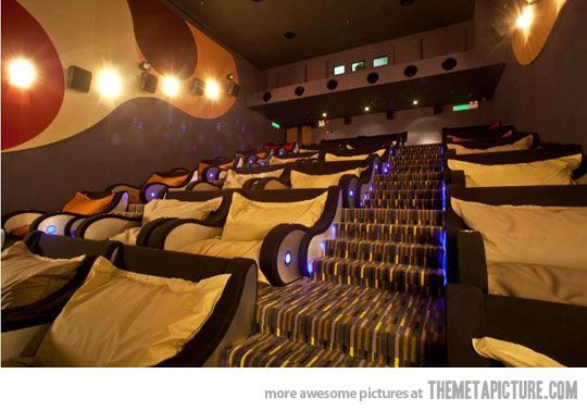 Cuddle-friendly movie theater. Downscale = awesome home theater. :D