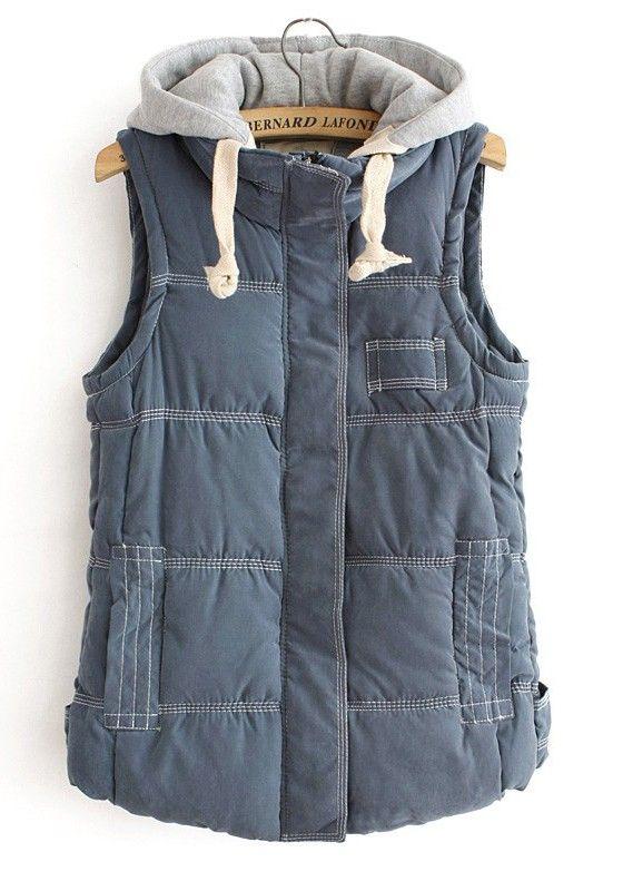 / Blue Zipper Collar Cotton Vest