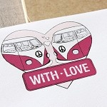 With Love Kombi Writing Set - 10 Pack - Deep Pink, Retro, Vintage, Love Letter - by BellaStationeryStudio on madeit