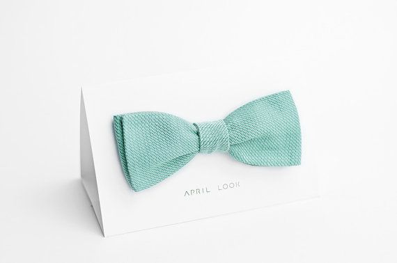 This Etsy store does loads of variations of teal colours -Mint green bow tie - double sided