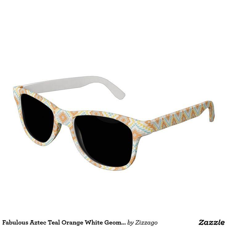 Fabulous Aztec Teal Orange White Geometric Sunglasses
