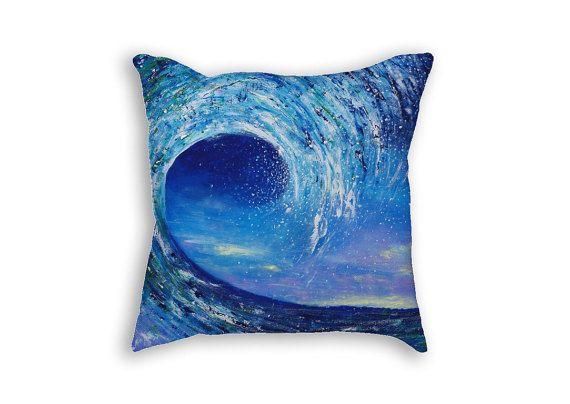 Blue pillow case Blue sea cushion Decorative pillow by artbyasta
