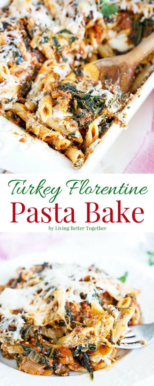 This Turkey Florentine Pasta Bake combines lean ground turkey with spinach and marinara for a simple pasta dish the whole family will love!