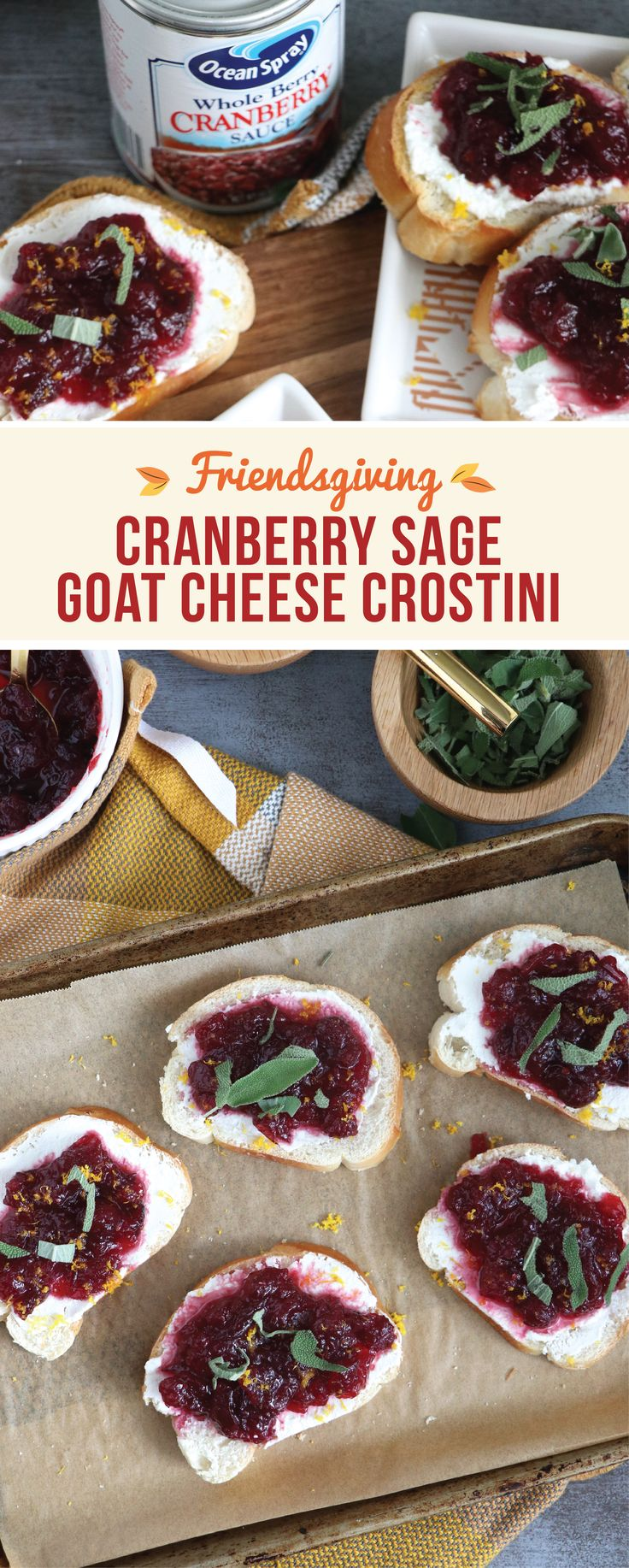 Kick off your Friendsgiving feast with an appetizer fit for the holidays! This recipe for Cranberry Sage Goat Cheese Crostini is one dish that may just become a staple on your party menu all season long—largely due to the tasty and festive Ocean Spray® Whole Berry Cranberry Sauce! To get ready for your fall celebration, pick up all the ingredients and entertaining essentials you need at Walmart.