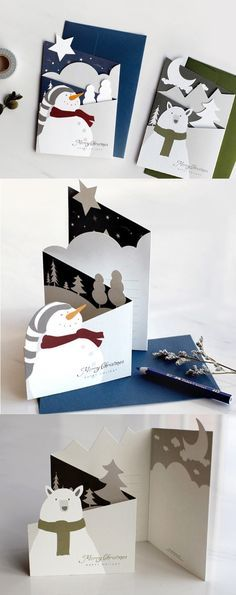Let it snow~~~ Bring joy and holiday cheer to friends and loved ones with the adorable Snowman Accordion Card! With 3D-like designs and 4 sections, there's plenty of cuteness and writing space to go around! ^.~*