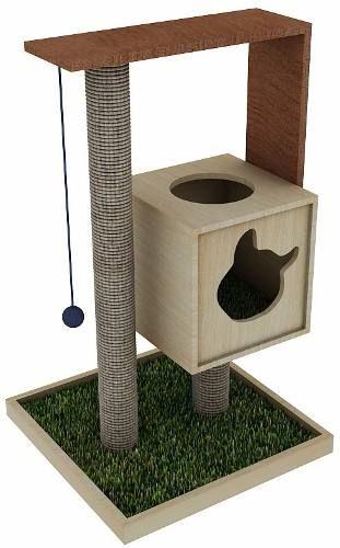 arranhador para gatos 1m com casa toca - la rooteria