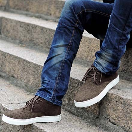 Cute Look Check Brown Shoes | Mens Shoes