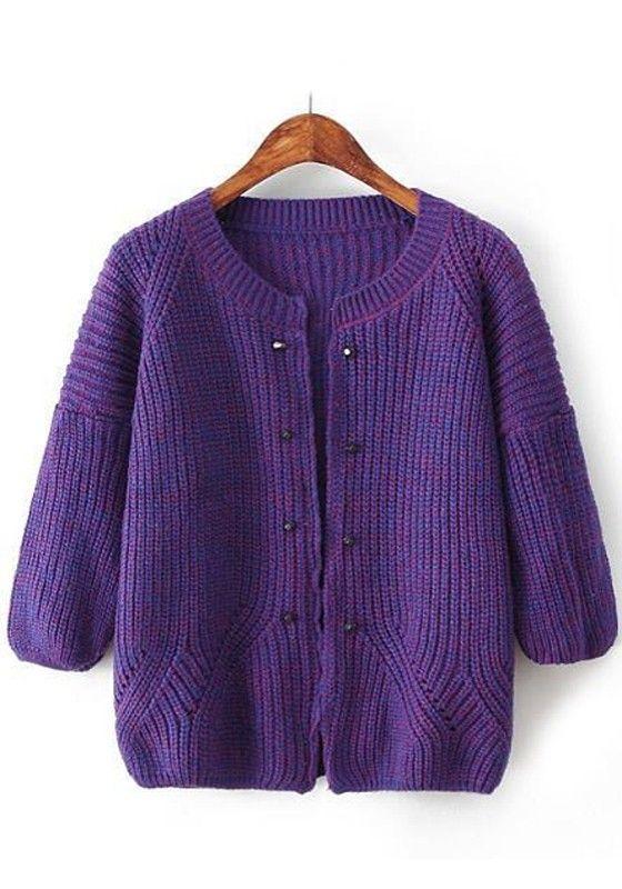 Purple Plain Rivet Cardigan