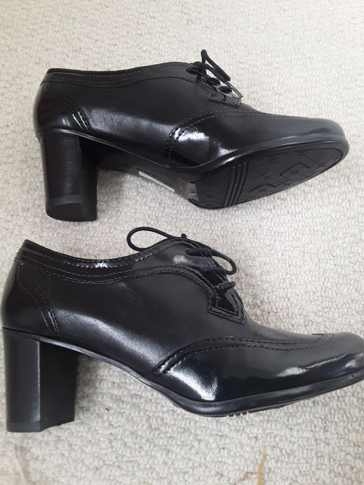 Black leather and patent  naturalizer Madia Lace up granny shoes #Naturalizer #Broguestylegrannyshoe