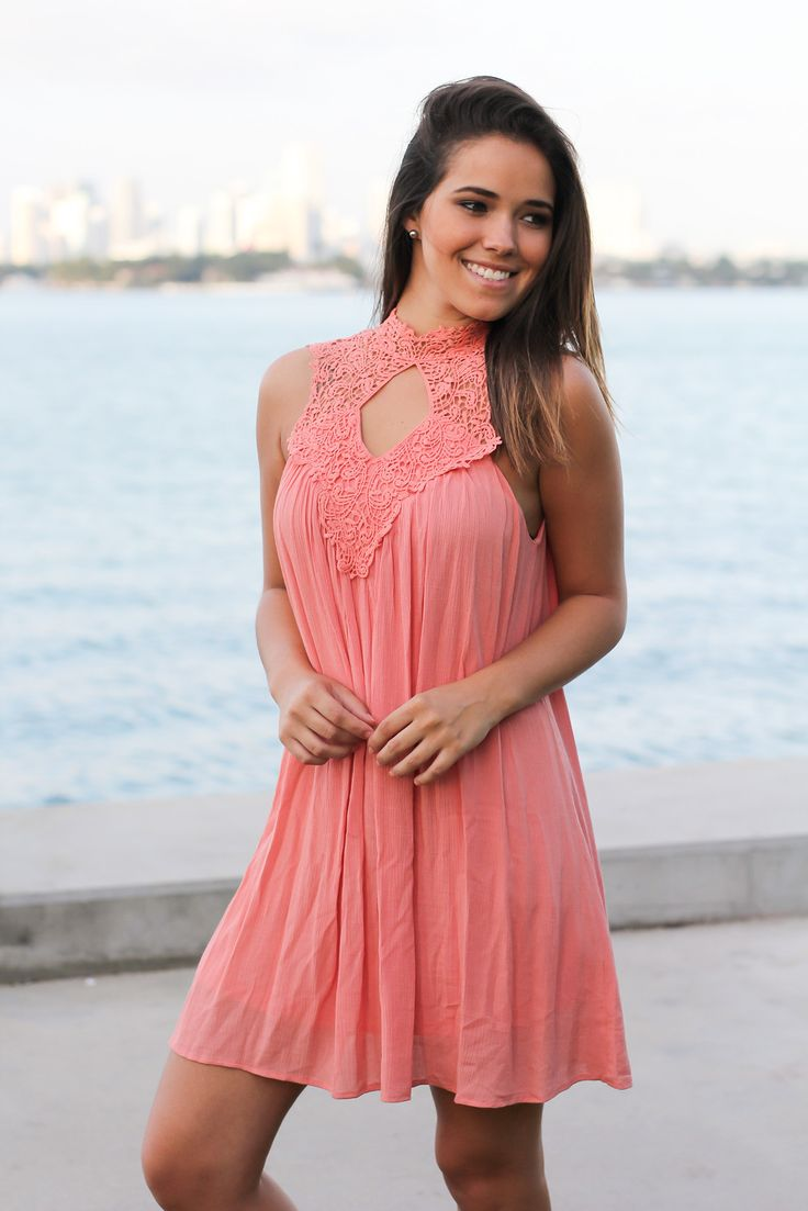 Salmon Crochet Short Dress with Keyhole