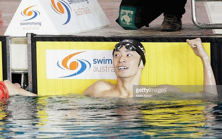 Ryosuke Irie of Japan celebrates winning and breaking the world record for the mens 200 metre backstroke during the Duel in the Pool between Australia and Japan at the AIS on May 10, 2009 in Canberra, Australia.