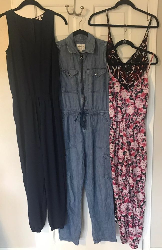 3989068a518 ... Cabi 303 Navy Jumpsuit   FOREVER 21 Tribal   Floral   Denim SMALL S   fashion  clothing  shoes  accessories  womensclothing  jumpsuitsrompers (ebay  link)