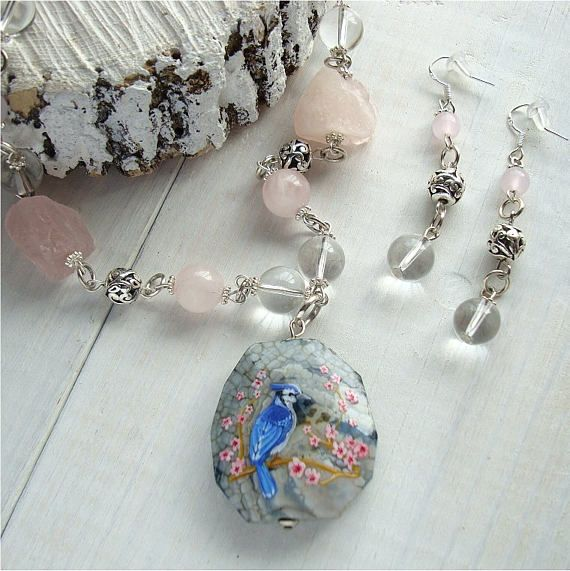 Hand-painted set necklace and earrings blue bird pink