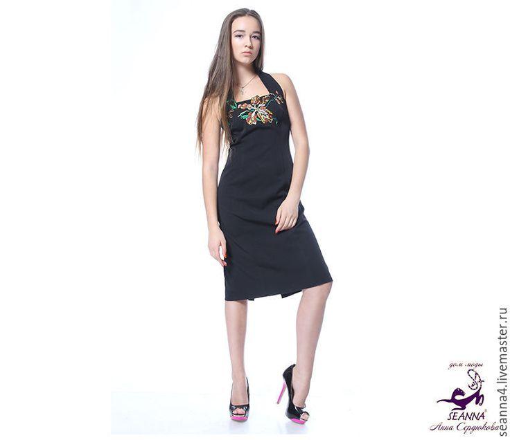 """Купить Сарафан """"Леопардовая Орхидея"""" из костюмки, отлично под рубашку - черный, платье, сарафан"""
