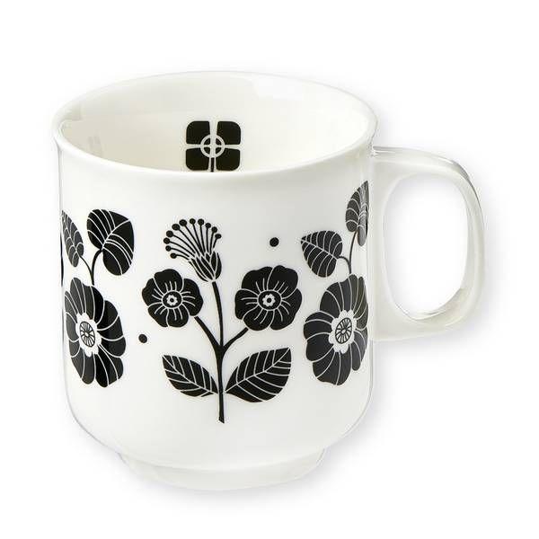 Mr & Mrs Clynk Porseleinen mok zwarte bloemen