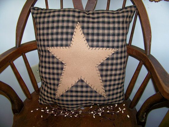 Primitive Pillow Cover Black Barn Star Prim Country Rustic Home Decor UNSTUFFED Decoration Stitchery Penny Rug Handmade Early Colonial Style