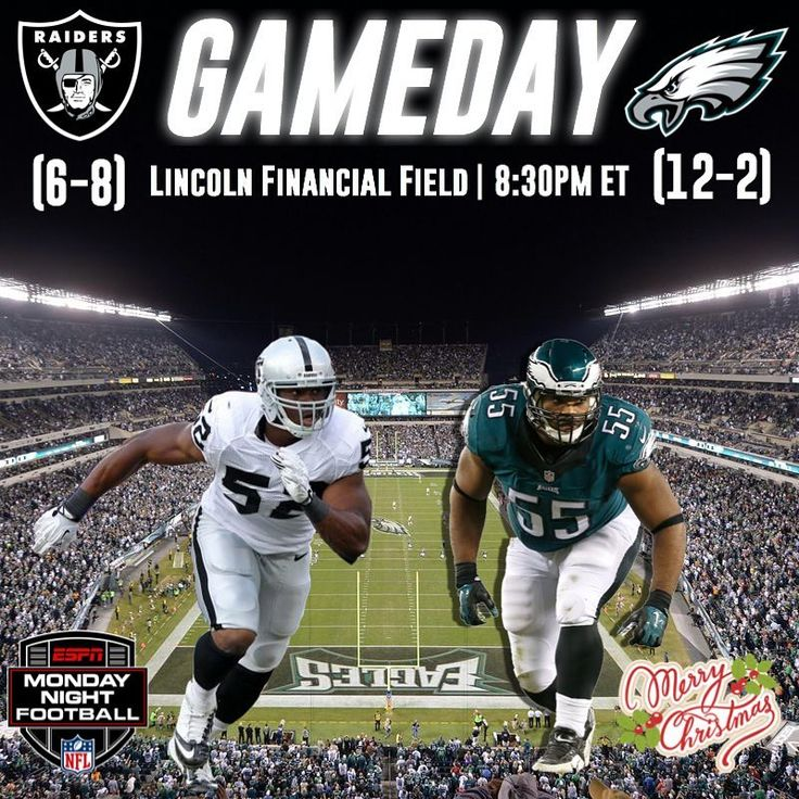 Its GAMEDAY and Merry Christmas Everyone! The Eagles face the Raiders at home tonight on Monday Night Football and will try to clinch home field advantage throughout the playoffs. The Eagles defense has to play a lot better and maybe Nick Foles can throw 7 TDs again . This will be the first Eagles home game I will be missing this year because I am going to Florida today but Ill be there for the playoff game/games. The Eagles will be in their all black uniforms tonight and hopefully they give…