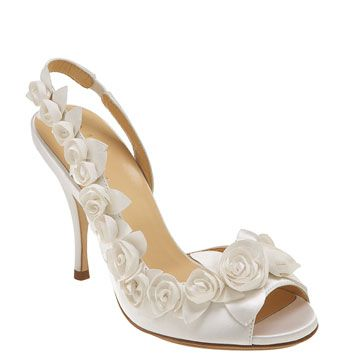 """Cole Haan 'Ceci Air Rose' Slingback -- I just found these and I am in LOVE!    White Italian silk satin. Rosette detail. NIKE AIR® technology. Wrapped sock calf leather lining. Leather sole; logo detail. 4"""" covered heel. Imported."""