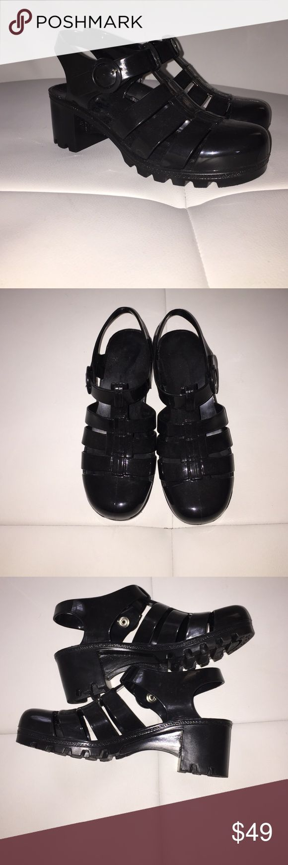 Black jelly sandals american apparel - American Apparel Aa Black Jelly Shoes Size 7 These Shoes Have Only Been Worn One Time