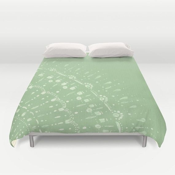 Pastel Green Duvet Cover minimal duvet green bed cover