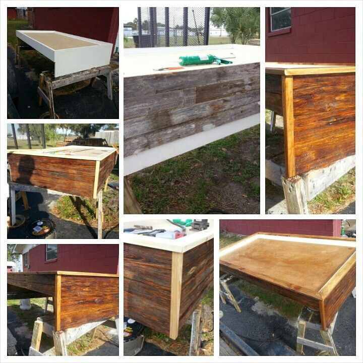 """Cheap trundle bed """"Rustic-ized""""  with repurposed fencing."""