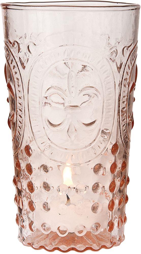 Glassware - Votive Holder - Vase - Vintage Pink Fleur de Lis motif