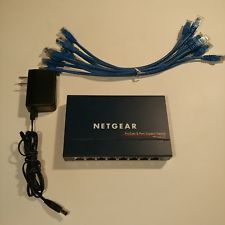 Netgear ProSafe 8 Port Gigabit Switch Model GS108v2 with AC Adapter and Cables Buy now! #cablesport #acadapter #portmodel