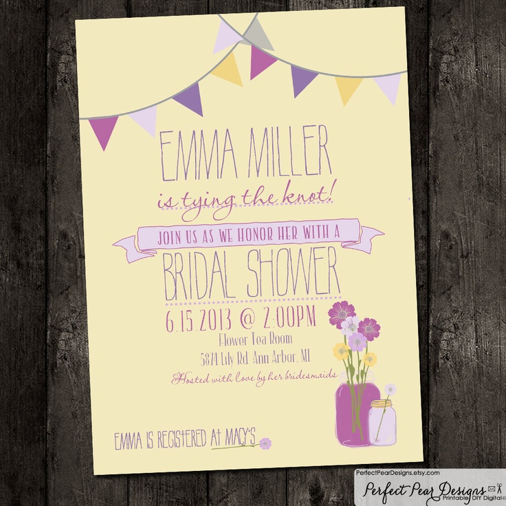 creative bridal shower invitation ideas%0A Bridal Shower Invitation  Vintage Mason Jar Flowers  purple  poster  style  flowers