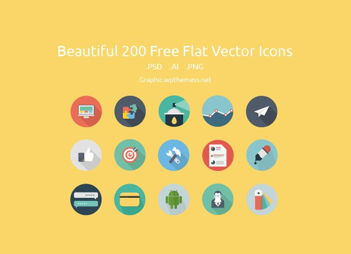 The flat design is becoming increasingly popular, a good idea is to have a comprehensive package of flat vector icons. We have carefully selected collection of the top 200 free resources icon set Format: AI, PSD, PNG Download File: 8 Size: 11.2 Mb
