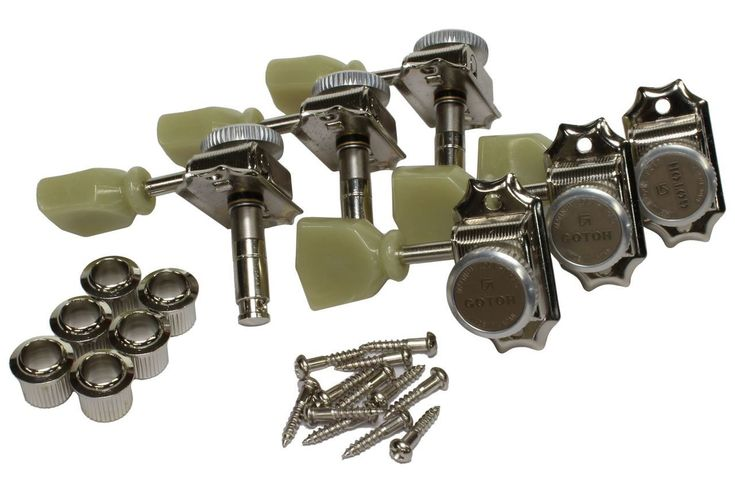 """Gotoh SD90-""""MG-T"""" Magnum Lock Traditional guitar tuning machine feature vintage Kluson classic style with vintage size pegholes.  Nickel plated finish."""