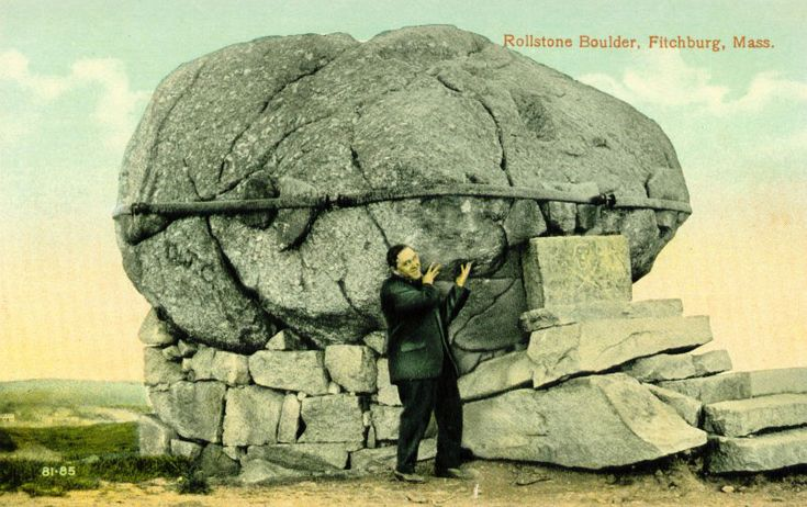 Postcard, Rollstone Boulder, Fitchburg, Massachusetts