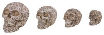 Skull Collection Nesting Box Set of Four Skulls White Collectibles mediterranean-holiday-decorations
