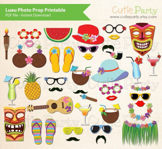 Luau Photo Booth Prop, Hawaiian Party Photo Booth Prop, Instant Download, Party Printable, 40 ready print images