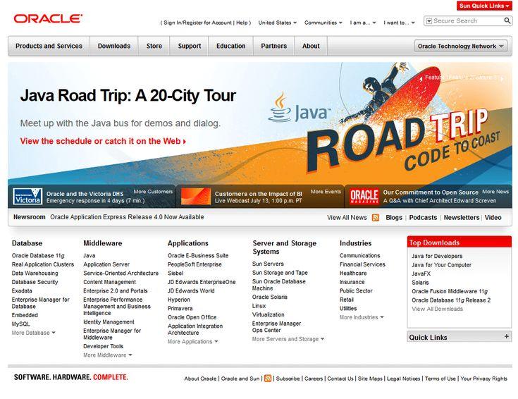 Oracle website in 2010