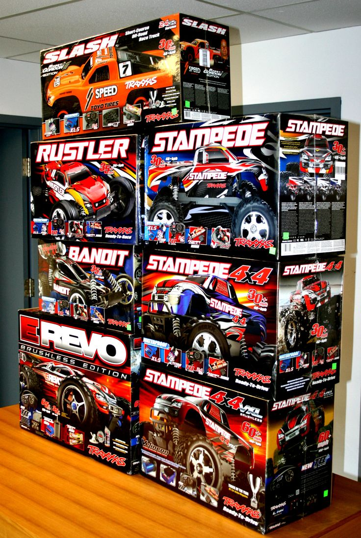 Good news, everyone! We have a HUGE new re-stock of RC car kits at the south store! Our shelves are once again full with Slashes, Stampedes, Rustlers, Bandits, and E-Revos! Come in and check out our selection!