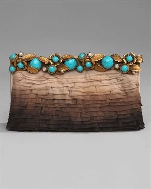 Gorgeous Valentino clutch with turquoise closure edging and textured cocoa fabric.